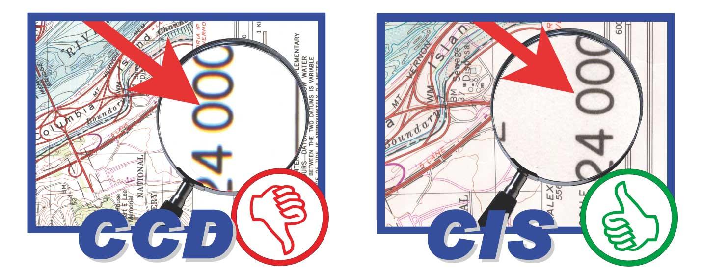 Im linken Bild erkennt man die typischen Farbränder die CCD-Scanner oft zeigen. Im rechten Bild sieht man die scharfe Abbildung des Graphtec Grossformatscanner mit CIS-Technologie
