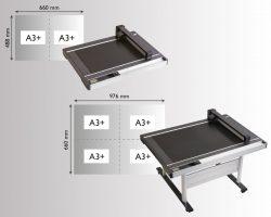 Die Auflagefläche des FCX4000 bietet bis zu 4 Bögen im A3+ Format Platz und ist somit die optimale Lösung für Ihre Print on Demand Projekte.