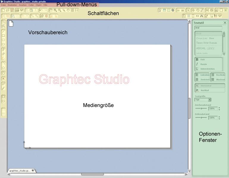 Graphtec Studio - Infos zu den Fensteranordnung der Grafiksoftware