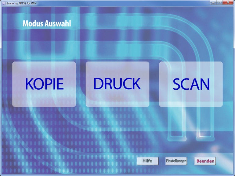 Auswahl des Modus (Kopie, Durck oder Scan) in der Software Scanning ARTS 2 for Windows