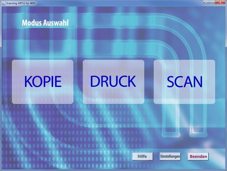 Auswahl des Modus (Kopie, Durck oder Scan) in der Software Scanning ARTS 2 for Windows