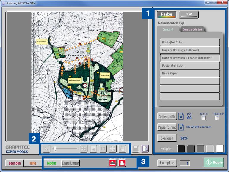 Scanmodus der Software Scanning ARTS 2