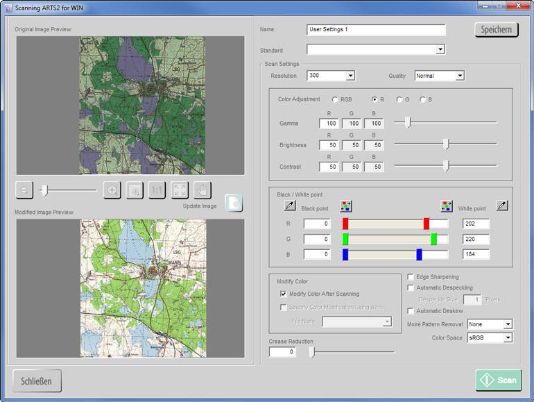 Farbanpassung an eingescannten Dokumenten durchführen mit Scanning ARTS 2 for Windows