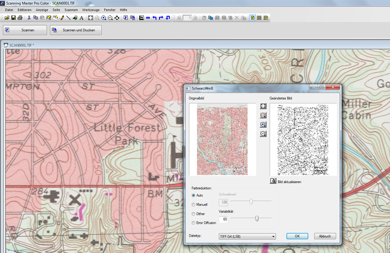 Datenbearbeitung mit der Scanner Software Scanning Master Pro Color